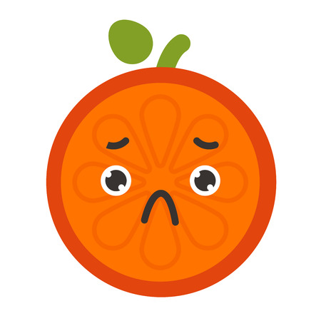 Emoji - sad orange feeling like crying. Isolated vector.
