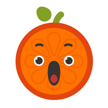 squeal: Emoji - scream orange smile. Isolated vector.