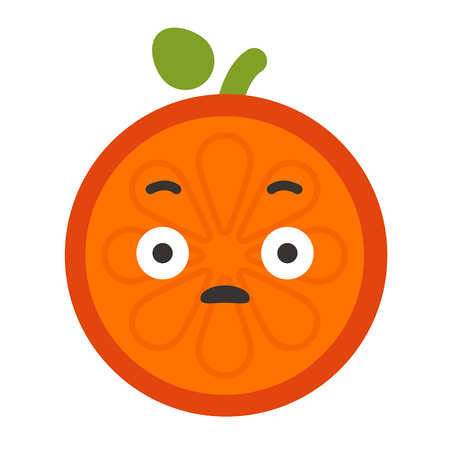Emoji - shock orange smile. Isolated vector.