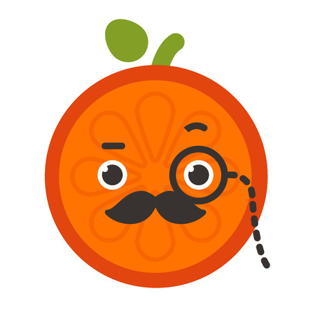 Emoji - gentleman orange smile with mustache and monocle. Isolated vector.
