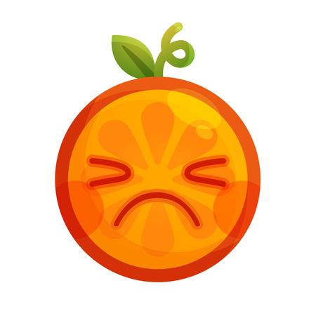Crying emoji. Crying orange fruit emoji. Vector flat design emoticon icon isolated on white background. Illustration