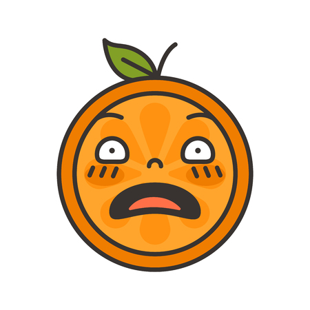 Shock emoji. Smiley orange fruit emoji. Vector flat design emoticon icon isolated on white background.