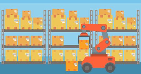 Warehouse transportation robot. Warehouse robot putting cardboard boxes on racks. Factory robot working with cardboard boxes in modern warehouse. Vector flat design illustration. Horizontal layout. Illustration