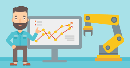 Engineer giving presentation on the theme of the use of robotic technology. Engineer and robotic arm standing on the background of board with charts. Vector flat design illustration. Horizontal layout