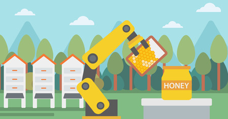 beeswax: Robot beekeeper working at apiary. Robot beekeeper with a honeycomb. Robot beekeeper gathering honey from beehive at apiary. Robot harvesting honey. Vector flat design illustration. Horizontal layout.