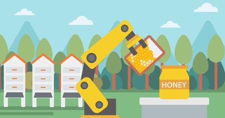 Robot beekeeper working at apiary. Robot beekeeper with a honeycomb. Robot beekeeper gathering honey from beehive at apiary. Robot harvesting honey. Vector flat design illustration. Horizontal layout.