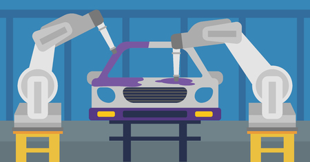 Robotic arm painting car in assembly shop. Robotic arm working on a conveyor for assembly of cars. The use of robots in the production of cars. Vector flat design illustration. Horizontal layout. Illustration