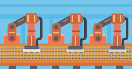 Automated robotic production line. Automated robotic conveyor belt. Robotic arms working on conveyor belt. Vector flat design illustration. Horizontal layout. Illustration