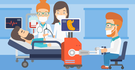 Caucasian doctor performing surgery operation with a robot. Doctor doing operation involving robot. The use of robotic technologies in medicine. Vector flat design illustration. Horizontal layout.