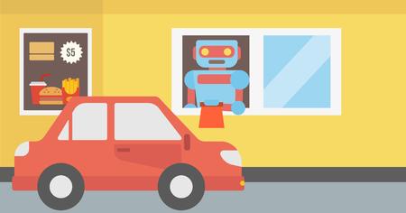 Trabajador robótico del restaurante de comida rápida dando una orden a un cliente en el coche. Conducción de automóviles a la ventana del restaurante de comida rápida donde trabaja robot. Vector ilustración de diseño plano. Disposición horizontal.