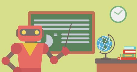 로봇 교사 포인터로 보드의 앞에 서 서. 로봇 교사 교실에서 포인터로 서입니다. 로봇 교사 손에 들고 포인터입니다. 벡터 평면 디자인 일러스트 레이