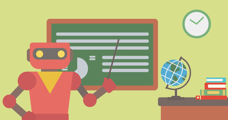Robot teacher standing in front of board with a pointer. Robot teacher standing with a pointer in classroom. Robot teacher holding pointer in hand. Vector flat design illustration. Horizontal layout.