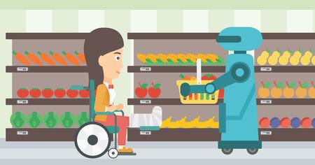 mujer en el supermercado: Robotic helper working in supermarket. Robotic helper choosing groceries for a woman in wheelchair. Robotic helper helps to a woman in supermarket. Vector flat design illustration. Horizontal layout.