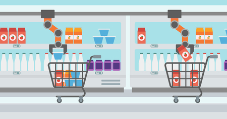 Robotic arm putting groceries in shopping trolley in supermarket. Robotic arm choosing groceries in supermarket. Concept of robotic technologies. Vector flat design illustration. Horizontal layout.
