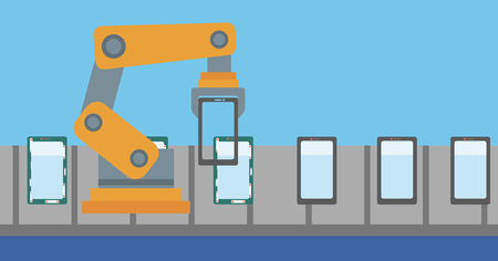 Robot working on automated robotic line for mobile phone. Robot assembling mobile phone on the conveyor belt. Robotic production line of cell phones. Vector flat design illustration. Horizontal layout