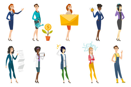 Business woman, stewardess, doctor, farmer set. Business woman investing in business project, presenting report, making solution. Set of vector flat design illustrations isolated on white background.