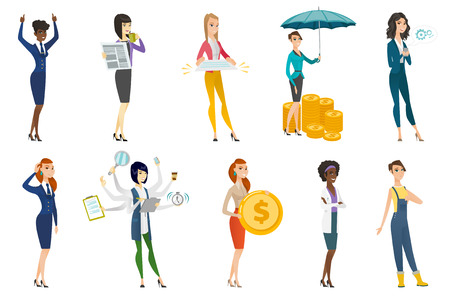 Business woman, stewardess, doctor, farmer set. Business woman drinking coffee, reading newspaper, holding a contract, dollar coin. Set of vector flat design illustrations isolated on white background