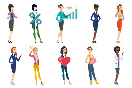 hotline: Business woman, stewardess, doctor, farmer set. Farmer holding piggy bank, business woman holding percent sign, pointing at chart. Set of vector flat design illustrations isolated on white background.