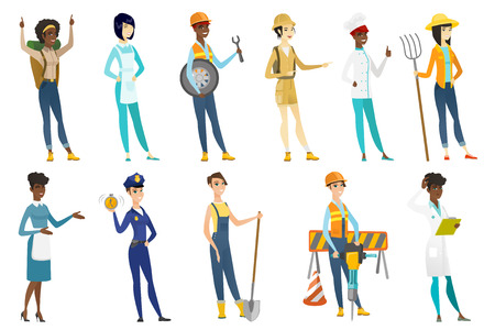 Profession set for women - auto mechanic, builder, tourist, chief-cooker, housekeeper, doctor, police woman, farmer with shovel. Set of vector flat design illustrations isolated on white background.