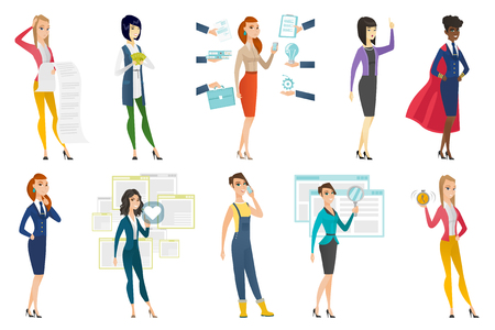 Business woman, stewardess, farmer set. Business woman presenting report, showing money, holding alarm clock and other scenes. Set of vector flat design illustrations isolated on white background.