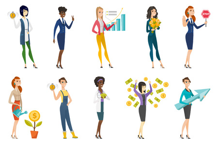 Business woman, stewardess, doctor, farmer set. Business woman standing under money rain, holding arrow representing strategy. Set of vector flat design illustrations isolated on white background. Illustration