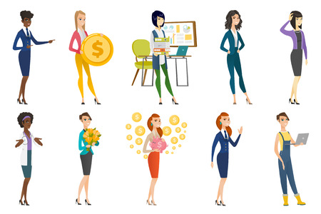 Business woman, stewardess, doctor, farmer set. Farmer using a laptop, stewardess waving hand, doctor shrugging her shoulders. Set of vector flat design illustrations isolated on white background.