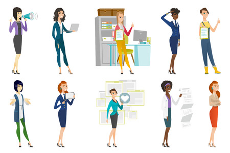 woman laptop: Business woman, stewardess, doctor, farmer set. Business woman pressing social media icon with heart, standing with folded arms. Set of vector flat design illustrations isolated on white background.