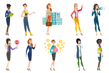 Business woman, stewardess, doctor, farmer set. Business woman holding stop road sign, piggy bank, talking on mobile phone. Set of vector flat design illustrations isolated on white background.