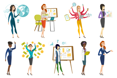 Business woman, stewardess, doctor, farmer set. Business woman giving business presentation, trying to cope with multitasking. Set of vector flat design illustrations isolated on white background.