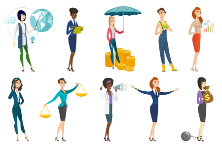 Business woman, stewardess, doctor, farmer set. Insurance agent protecting money, farmer with cash, operator of hotline in headset. Set of vector flat design illustrations isolated on white background