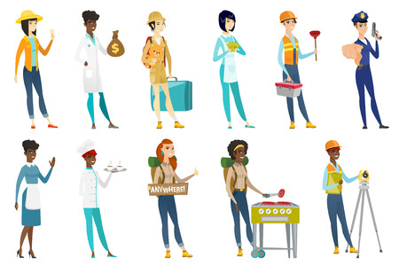 Profession set for women - plumber, builder, tourist with suitcase, barista, housekeeper waving, doctor, police woman, farmer. Set of vector flat design illustrations isolated on white background.