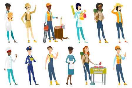 Profession set for women - builder, lumberjack, tourist, chief-cooker, housekeeper, pediatrician doctor, police woman, farmer. Set of vector flat design illustrations isolated on white background.