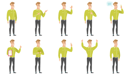 Caucasian businessman pointing to the side. Businessman pointing his finger to the side. Businessman pointing to the right side. Set of vector flat design illustrations isolated on white background.