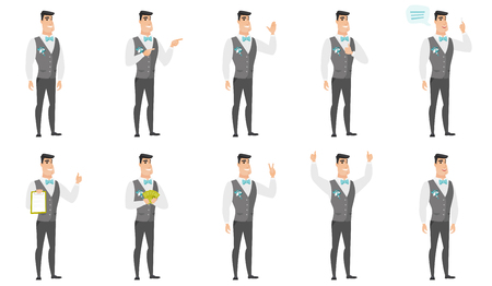 Young caucasian groom waving his hand. Full length of smiling groom waving his hand. Groom making greeting gesture - waving hand. Set of vector flat design illustrations isolated on white background. Vectores