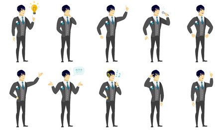 Asian bridegroom pointing at bright idea bulb. Full length of young bridegroom having a creative idea. Successful idea concept. Set of vector flat design illustrations isolated on white background.