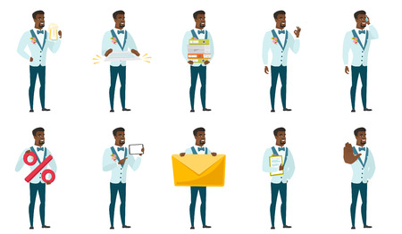 Cheerful african-american groom holding a contract. Full length of smiling groom with a contract. Young groom holding a contract. Set of vector flat design illustrations isolated on white background. Stock Illustratie