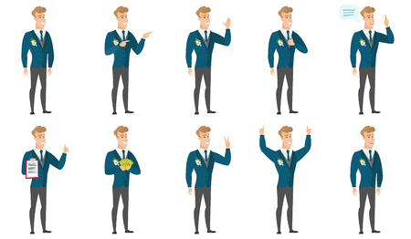 Young caucasian bridegroom giving thumb up. Full length of smiling bridegroom with thumb up. Cheerful bridegroom showing thumb up. Set of vector flat design illustrations isolated on white background.