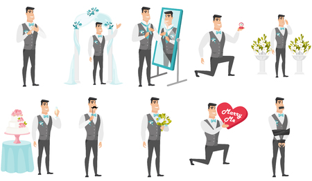 Groom and wedding scenes set. Young caucasian groom standing under wedding arch, making marriage proposal, holding bridal bouquet. Set of vector flat design illustrations isolated on white background.