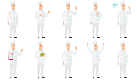 Caucasian confident chef cook in uniform. Full length of confident chef cook. Chef cook standing in a pose signifying confidence. Set of vector flat design illustrations isolated on white background. Vectores