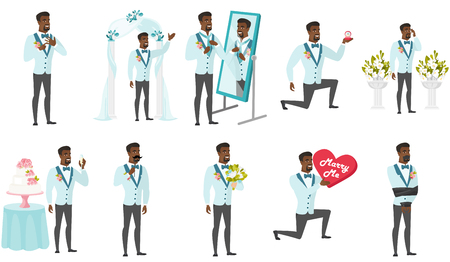 black family: Groom and wedding scenes set. African groom making proposal, preparing before wedding, standing in front of altar, saying a toast. Set of vector flat design illustrations isolated on white background. Illustration
