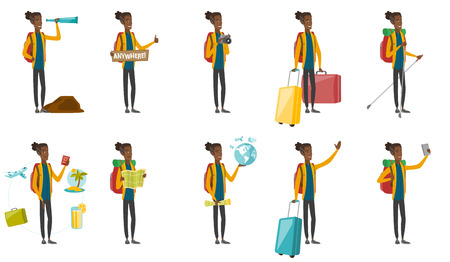 Young african traveler set. Traveler looking through spyglass, holding tablet with text anywhere, making photo with camera. Set of vector flat design cartoon illustrations isolated on white background