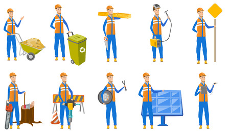 drill: Young caucasian builder set. Builder pushing wheelbarrow with sand, recycling bin, lumberjack with chainsaw, mechanic with wheel. Set of vector flat design illustrations isolated on white background. Illustration