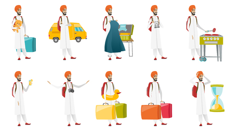 Young muslim traveler set. Traveler putting clothes into a suitcase, cooking steak on barbecue grill, carrying heavy suitcases. Set of vector flat design illustrations isolated on white background.