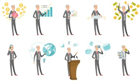 Senior caucasian businessman set. Businessman drinking coffee, giving a speech from the tribune, holding a document. Set of vector flat design cartoon illustrations isolated on white background.