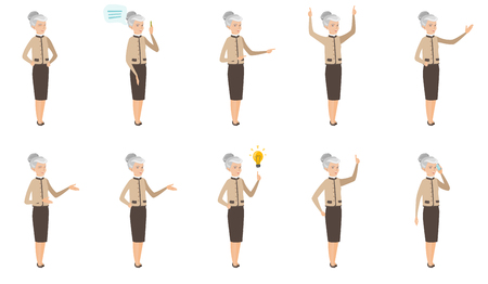 Senior caucasian business woman set. Business woman thinking, scratching head, showing stop road sign, thumb down, giving a speech. Set of vector flat design illustrations isolated on white background