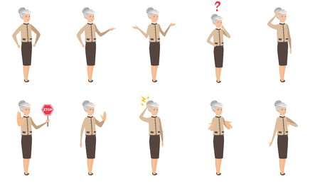 Senior caucasian business woman set. Business woman shrugging shoulders, scratching head, showing palm, standing under lightning. Set of vector flat design illustrations isolated on white background. Illustration