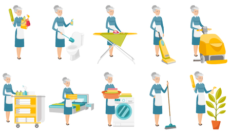 Senior caucasian cleaner set. Cleaner cleaning toilet, ironing, using vacuum, washing, watering flower, sweeping, making bed. Set of vector flat design illustrations isolated on white background.