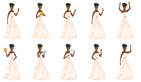 Fiancee africano en el vestido blanco que señala al lado. Prometida apuntando su dedo a un lado. Fiancee que señala al lado derecho. Conjunto de ilustraciones vectoriales de diseño plano aisladas sobre fondo blanco. Foto de archivo - 83322306