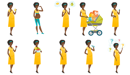 Young pregnant woman with a pram full of presents. African pregnant woman walking with a pram full of gifts. Baby shower concept. Set of vector flat design illustrations isolated on white background.