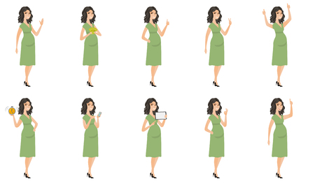 awaiting: Young caucasian pregnant woman set. Pregnant woman waving hand, holding money, tablet computer, alarm clock, giving thumb up. Set of vector flat design illustrations isolated on white background.